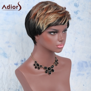 Mixed Color Short Fluffy Full Bang Fashion Women's Adiors Synthetic Hair Wig - COLORMIX