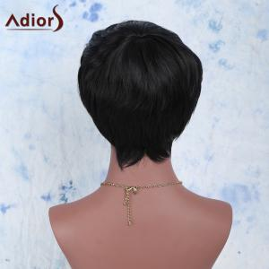 Manly Boy Cut Black Short Capless Straight Side Bang Synthetic Wig For Women -
