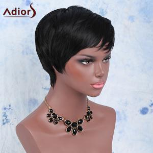 Manly Boy Cut Black Short Capless Straight Side Bang Synthetic Wig For Women - BLACK