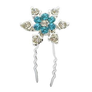 Rhinestone Floral Alloy Hairpin - Blue