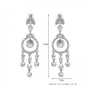 Rhinestone Leaf Chandelier Earrings -