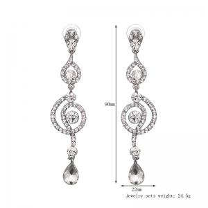 Rhinestone Round Teardrop Earrings - SILVER