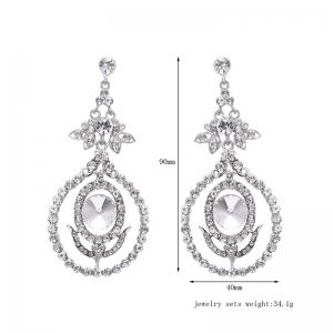 Rhinestone Leaf Flower Earrings - SILVER