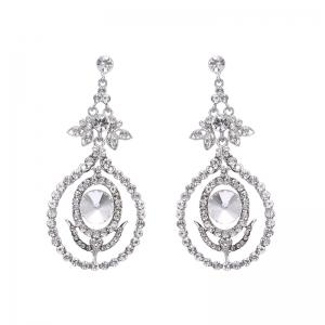 Rhinestone Leaf Flower Earrings