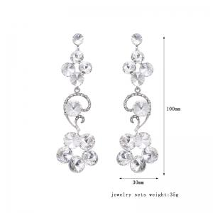 Rhinestone Flower Drop Earrings -