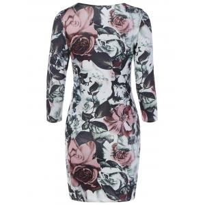 Floral Bodycon Mini Dress With Sleeves -