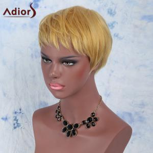 Golden Mixed Fashion Short Pixie Cut Straight Side Bang Synthetic Wig -