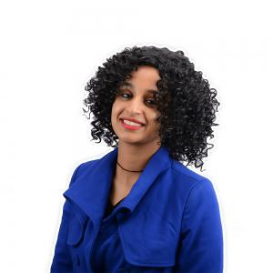 Medium Curly Synthetic Wig -