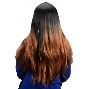 Long Middle Part Ombre Color Straight Synthetic Wig -