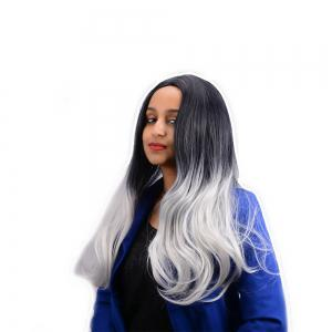 Long Middle Part Ombre Color Slightly Wavy Synthetic Wig -