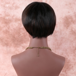 Skilful Short Oblique Bang Straight Synthetic Wig -