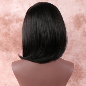 Medium Oblique Bang Straight Synthetic Wig -