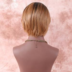 Short Oblique Bang Color Mixed Straight Synthetic Wig -
