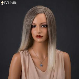 Siv Hair Long Color Mixed Side Parting Straight Real Natural Hair Wig - COLORMIX