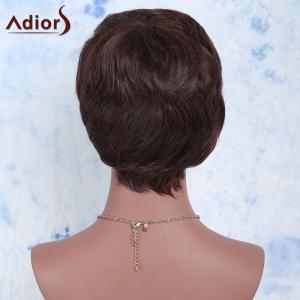 Ultrashort Curly Oblique Bang Synthetic Wig - DEEP BROWN