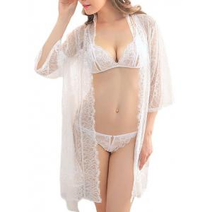 Sheer Lace Belt Three Piece Babydoll - White - S