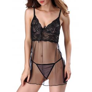 Lace Insert See Through Babydoll