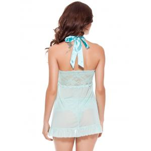 Open Front Lace Panel Halter Babydoll - MINT L