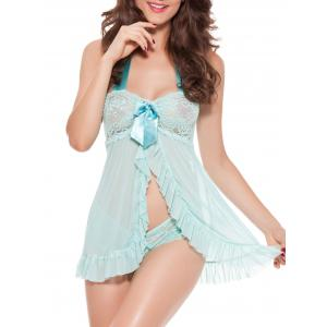 Open Front Lace Panel Halter Babydoll - Mint - L