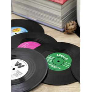 6PCS Skidproof Thermal Insulation Table Vinyl Record Coasters - BLACK