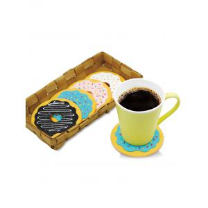 4PCS Cartoon Thermal Insulation Table Doughnut Coasters - Colormix - Pattern D