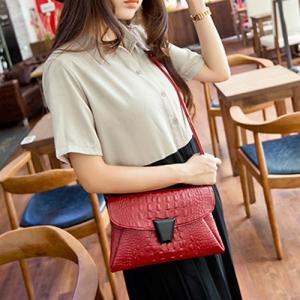 Embossed Crossbody Bag - Red - 38
