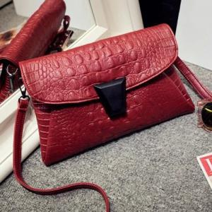 Embossed Crossbody Bag - RED