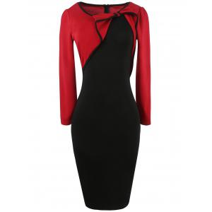 Long Sleeve Bowknot Color Block Pencil Dress