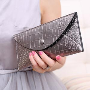 Envelope Style Slim Crocodile Wallet -