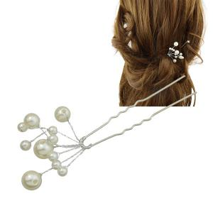 Faux Pearl Hairpin - Silver - 7