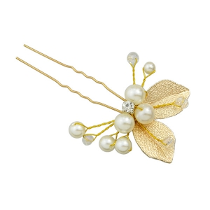 Faux Pearl Rhinestone Leaf Hairpin - GOLDEN