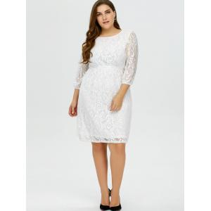 Plus Size Lace Floral Prom Wedding Dress - WHITE 4XL