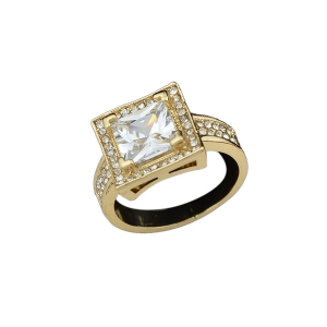 Rhinestone Square Adjustable Ring - Golden - 8
