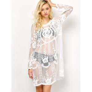 Long Sleeve See-Through Lace Cover-Up -