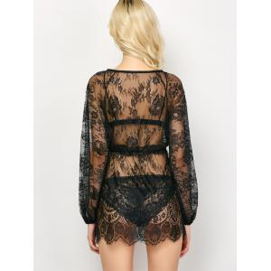 Drawstring See-Through Lace Swimsuit Cover-Up -