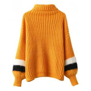 Turtleneck Puffed Sleeve Sweater -