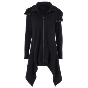 Zipper Up Asymmetrical Hooded Coat - Black - M