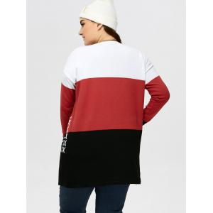 Plus Size Drop Shoulder Knit Cardigan - BLACK AND WHITE AND RED 3XL