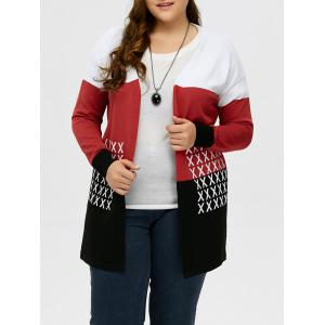 Plus Size Drop Shoulder Knit Cardigan - Black And White And Red - Xl