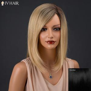 Medium Inclined Parting Colormix Silky Straight Bob Siv Human Hair Wig