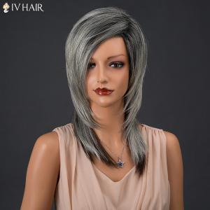 Long Colormix Inclined Parting Straight Siv Human Hair Wig -