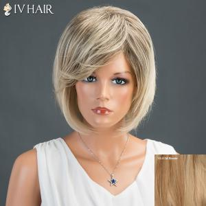 Layered Short Oblique Bang Straight Bob Siv Human Hair Wig