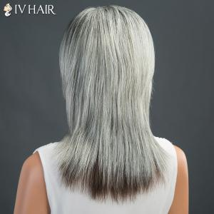 Long Fluffy Side Parting Straight Siv Human Hair Wig -