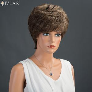 Short Layered Fluffy Side Bang Straight Siv Human Hair Wig -