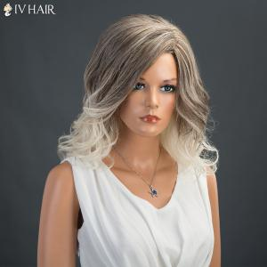 Medium Wavy Colormix Layered Fluffy Side Parting Siv Human Hair Wig -
