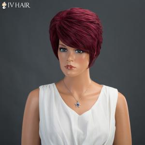 Layered Short Shaggy Side Bang Straight Siv Human Hair Wig -