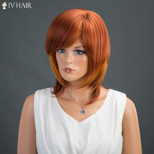 Medium Inclined Bang Straight Siv Human Hair Wig -