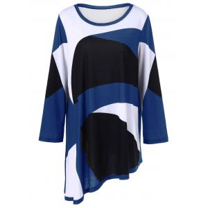 Plus Size Abstract Print Asymmetrical T-Shirt - Blue - Xl