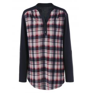 Plus Size Split-Neck Plaid Trim Blouse - Black - Xl