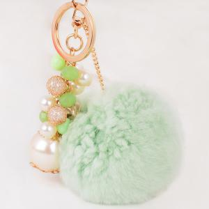 Artificial Pearl Beads Fuzzy Ball Keyring